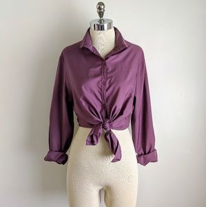 vintage 80's rounded collar button front blouse